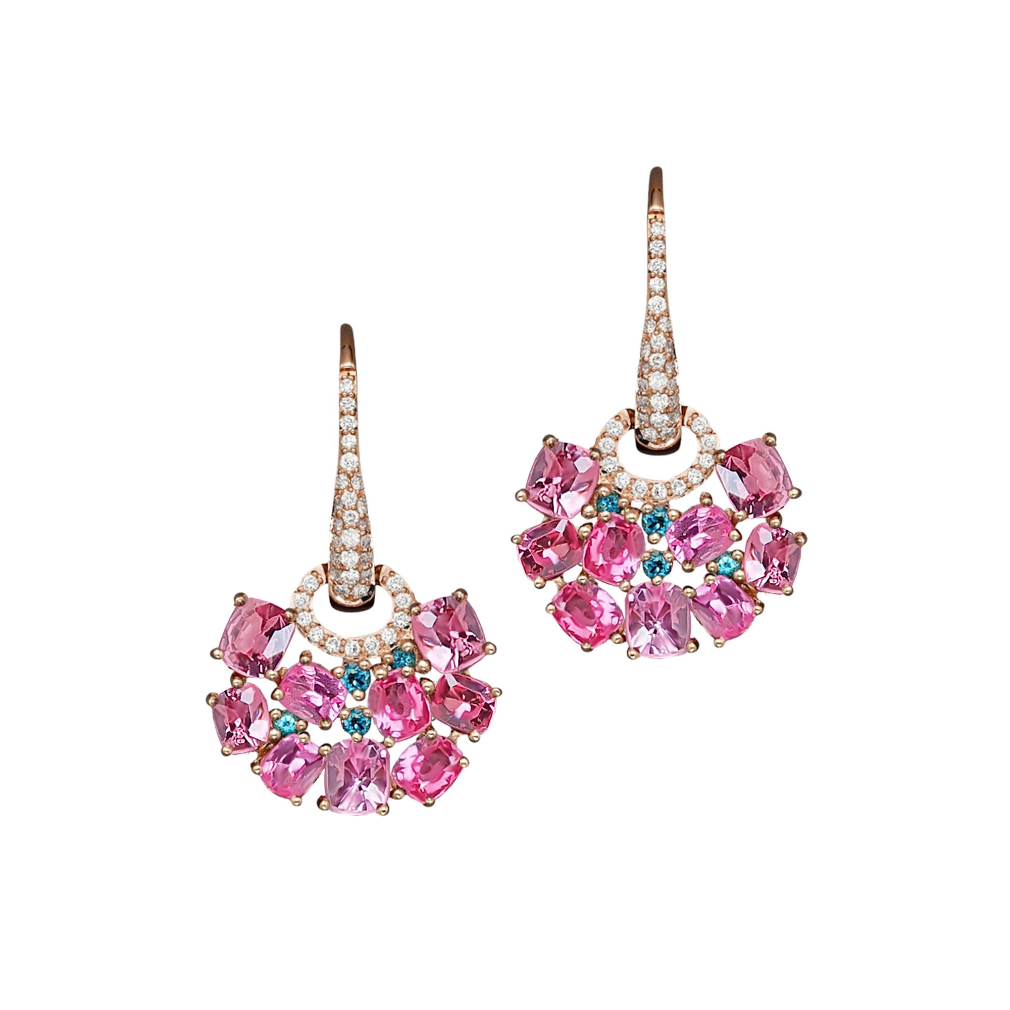 Tully Cluster Dangling Earrings - Pink Cushion W146