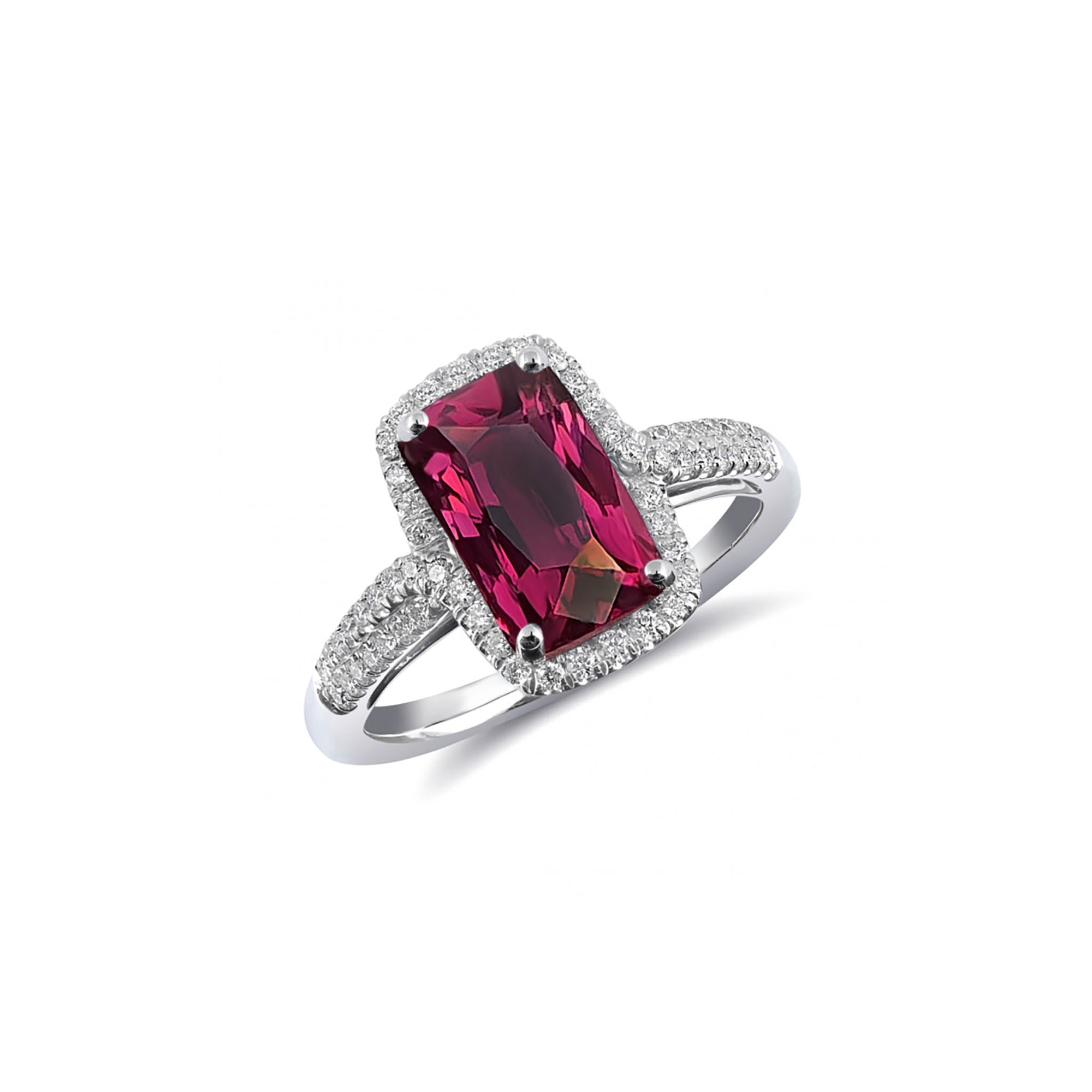 Emmy Halo Ring - Pink Baguette W170