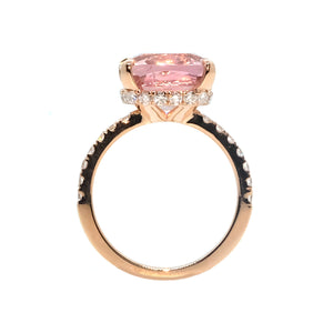 Yura Hidden Halo Solitaire Ring - Pink Spinel Long Cushion 2020-186