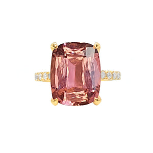 Yura Hidden Halo Solitaire Ring - Pink Tourmaline Long Cushion 2020-186