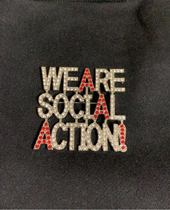 Rhinestone 'We Are Social Action' Pin
