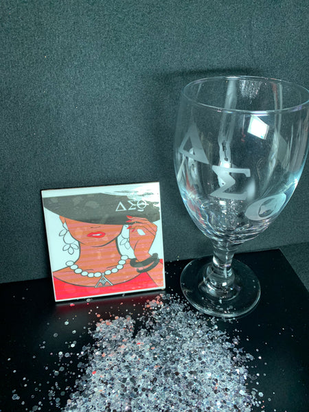 Etched glass and Coaster Set