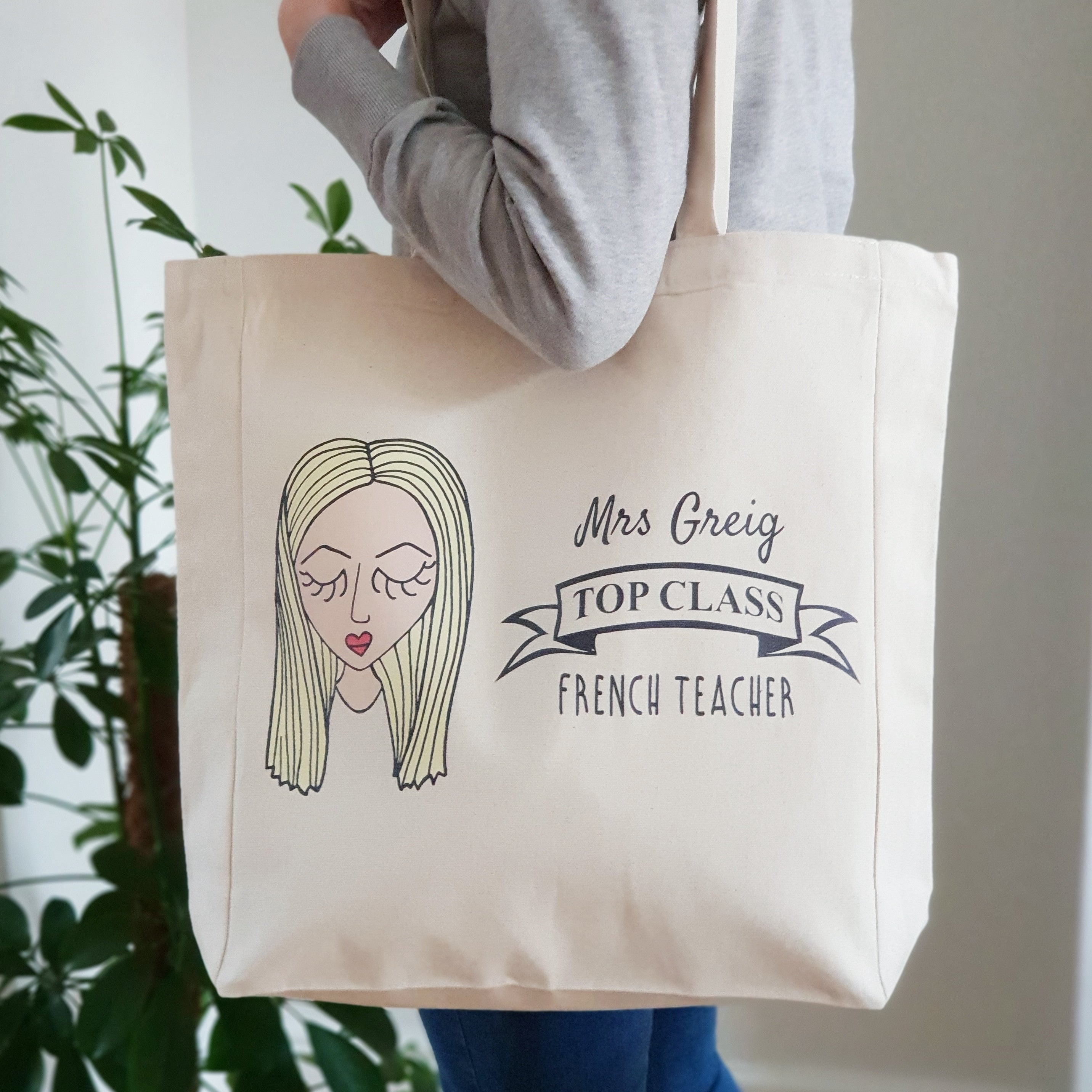 Personalised Top Class Teacher Tote Bag