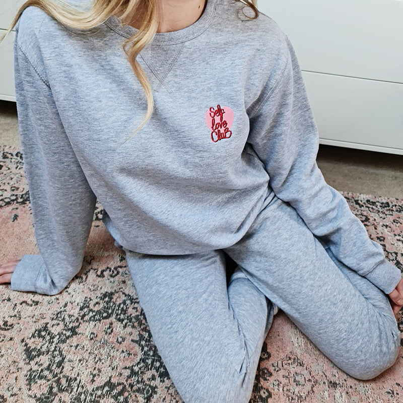 Personalised Self Love Club Embroidered Loungewear Set
