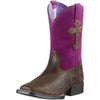 Ariat | Kid's Crossroads Distressed Brown/Fuchsia