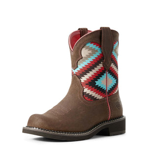 Ariat | Women's Fatbaby Heritage Twill Dark Barley/Pastel Aztec Print - Outback Traders Australia