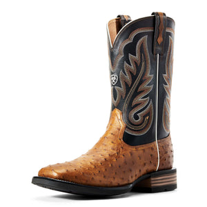 Ariat | Men's Promoter Caramello Full Quill Ostrich/Black - Outback Traders Australia