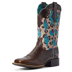 Ariat | Women's Round Up Willow Dark Chocolate Chip/Leopard - Outback Traders Australia