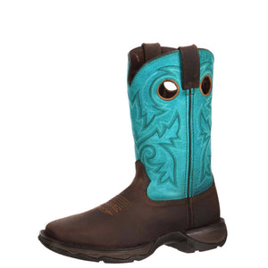 Durango® Women's Lady Rebel™ Steel Toe Western Boot Brown/Turquoise