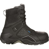 Rocky Men's 1st Med Carbon Fiber Toe Puncture-Resistant Side-Zip Waterproof Public Service Boot Black
