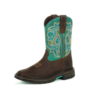 Georgia Kid's Boot Carbo-Tec LT Little Kids Pull On Boot Brown Turquoise
