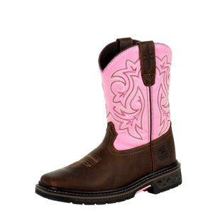 Georgia Kid's Boot Carbo-Tec LT Big Kids Pull On Boot Brown/Pink