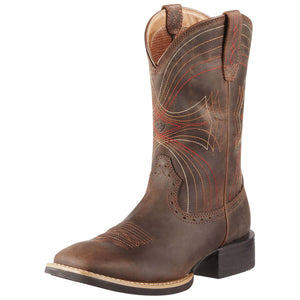 Ariat | Men's Sport Wide Square Toe Distressed Brown - Outback Traders Australia