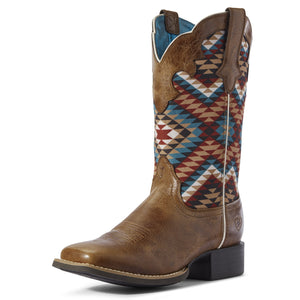 Ariat | Women's Round Up Willow Dark Tan/Multi Aztec - Outback Traders Australia