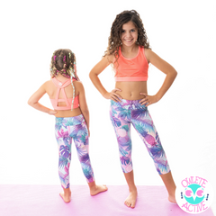 owlete active coral orange crop top for girls with tropical three quarter length tights