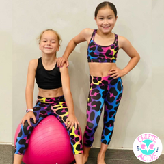 owlete active matching activewear for girls in leopard print tights and crop