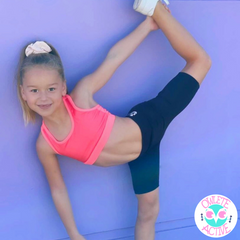 owlete active bright coral crop top and Stevie black bike shorts for girls