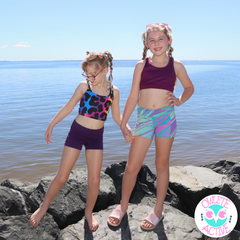 owlete active rainbow activewear by the beach for active gymnastic girls