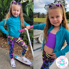 owlete active teal jacket and leopard print tights with purple crop top for girls