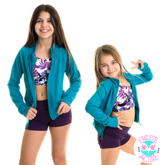 owlete active kids gym jacket in a high quality fabric beautiful teal colour pockets no hood get it personalised