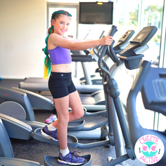 owlete active Stevie black gym shorts and purple crop top for girls who love exercise and keeping fit