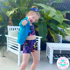 owlete active kool leopard print activewear for kids in high quality fabrics bright colours