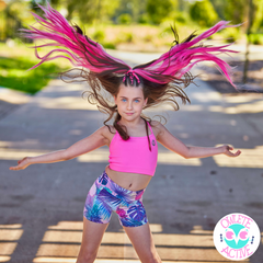 owlete active pink crop top and tropical shorts in a set for young active cheer leading girls