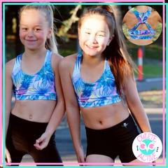 tropical design crop top for gymnastics girls from owlete active