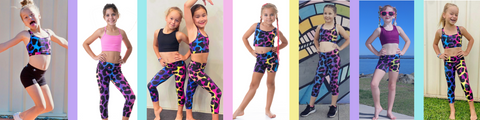 owlete active leopard print activewear for kids collection shorts tights crops set bundles vibrant bright fun colours pattern and design
