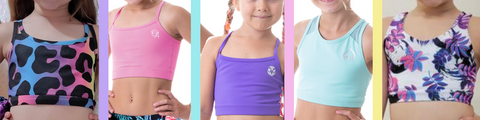 owlete active kids activewear crop top tank shirt singlets collection for girls who do gymnastics are active energetic and love colour unique patterns and strap details