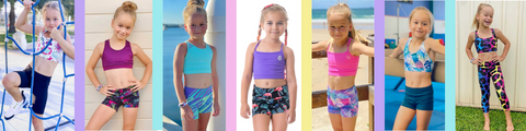 owlete active wear matching sets of shorts tights crops tanks colour pattern all working together for the perfect activewear set for girls