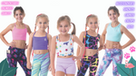 owlete active kids activewear for active girls with squat proof fabric fun pattern colourful vibrant tights shorts with pockets and pretty crop tops for kids