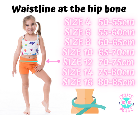 owlete active girls activewear graffiti art size chart for young girls