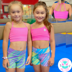 twinning activewear sets wild rainbow shorts and pink crop top for girls designed in australia