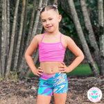 owlete active kids activewear shorts wild rainbow design with accessory pocket premium squat proof fabric colours and design for active sporty girls