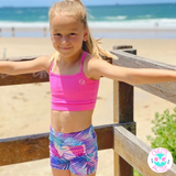 kids activewear pink blue mint coloured activewear set for young girls with better body coverage and fun designs