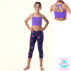 owlete active midnight rainforest long tights with pockets in a matching set with purple crop top
