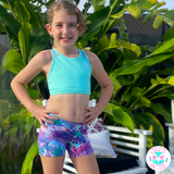 OWLETE ACTIVEWEAR GIRLS SHORTS FOR SPORT GYMNASTICS DANCE PLAY WITH POCKET PASTEL COLOURS BETTER BODY COVERAGE AND A MINTY GREEN CROP
