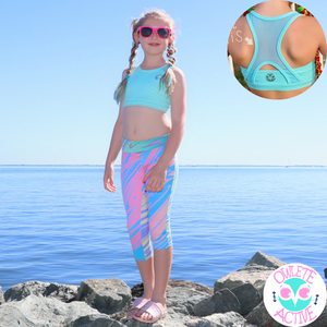 owlete activewear capri and crop set with rainbow colours tights with pockets and green crop