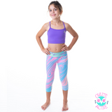 owlete active gymnastics tights and crop tops for girls from sizes four to fourteen fun rainbow paddle pop design