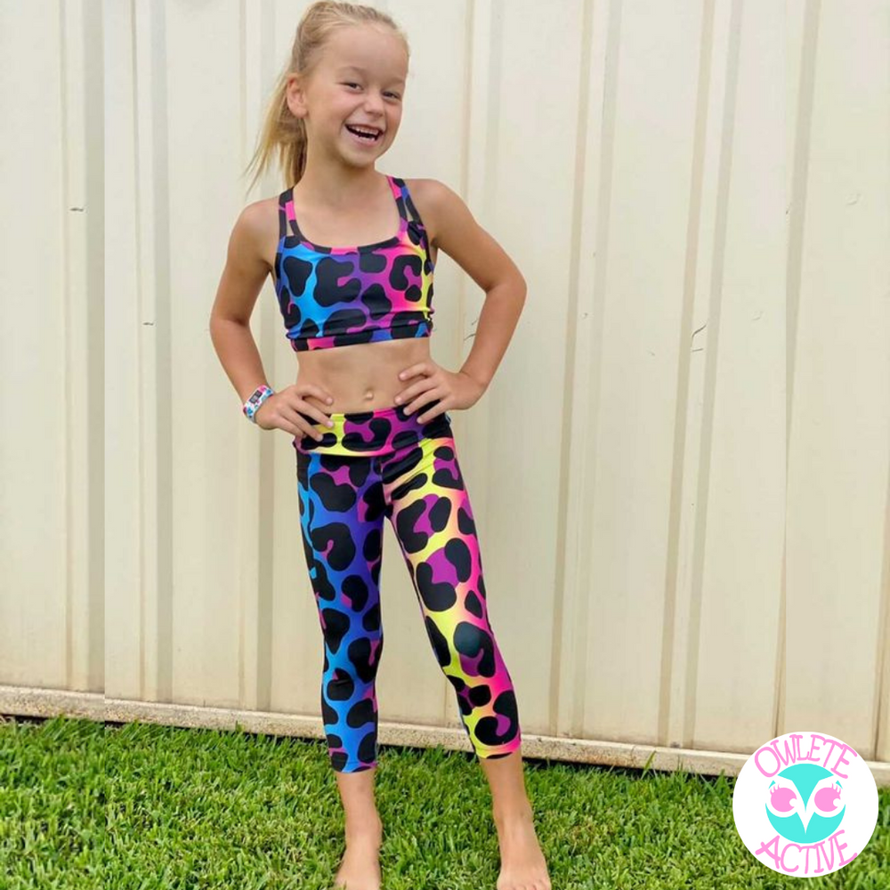 owlete active leopard print capris long tights for girls with pocket matching crop with cute strap design