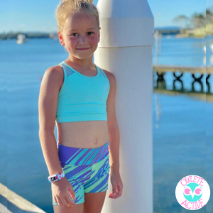 owlete active kids activewear shorts wild rainbow design with accessory pocket awesome fabric colours and design for active sporty girls