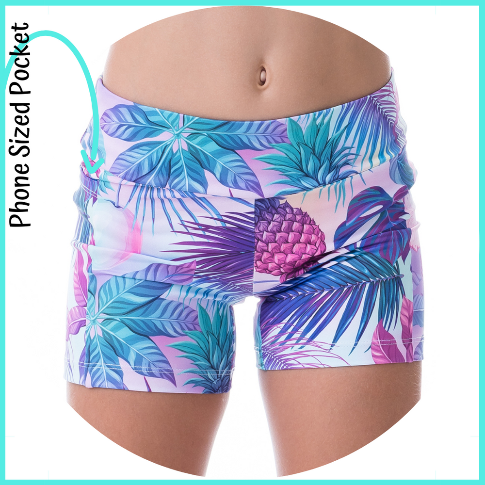 girls activewear from owlete active tropical design shorts with pockets in a set with crop top sportswear running shorts for kids