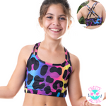 owlete active kids activewear crop top with cross back straps reflective decals and fun bold vibrant colours and tiger print designs