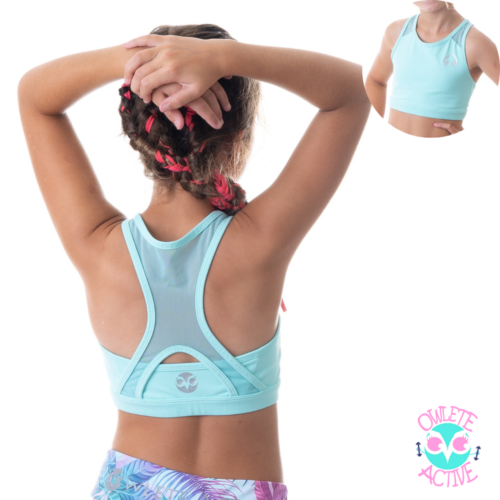owlete active girls green crop top with breathable panels made by gymnasts for gymnasts best selling crop for kids