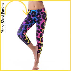 kids activewear lycra tights with pockets leopard print with vibrant rainbow colours high visibility
