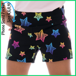 GIRLS activewear fluro black shorts with colourful stars