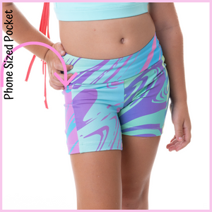 owlete active wild rainbow design shorts with pocket for girls who love gymnastics dance crossfit rainbow lovers better body coverage