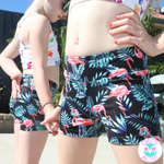 flamingo lycra shorts for kids girls colourful gymnastics gear