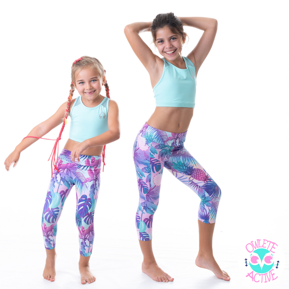owlete active tropical print tights in a set with green crop top for young sporty girls who love to wear pattern and colour